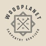 Vintage carpentry, woodwork and mechanic label, badge, emblem and logo.illustration. Monochrome Graphic Art. vector illustration