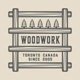 Vintage carpentry, woodwork and mechanic label, badge, emblem and logo.illustration. Monochrome Graphic Art. Vector stock illustration