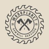 Vintage carpentry, woodwork and mechanic label, badge, emblem and logo. Vector illustration. Monochrome Graphic Art royalty free illustration