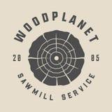 Vintage carpentry, woodwork and mechanic label, badge, emblem. And logo. Vector illustration. Monochrome Graphic Art royalty free illustration