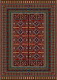 Vintage carpet decorated with geometric designs. Vintage carpet with ethnic geometrical pattern on borders Stock Images
