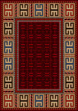 Vintage carpet with ethnic geometric ornament with yellow border Royalty Free Stock Photos