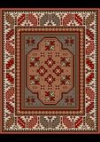 Vintage carpet with ethnic ornament in brown and beige shades Stock Images