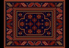 Vintage carpet with ethnic ornament in burgundy and dark blue colors. Luxury vintage carpet with ethnic ornament in burgundy and dark blue colors Royalty Free Illustration