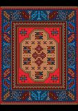 Vintage carpet with  ethnic  ornament in red and blue colors Stock Photography