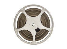 Vintage carrete de la película de cine de 8 milímetros aislado en blanco Fotografía de archivo libre de regalías