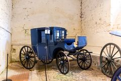 Vintage carriage in museum, old vehicle, Europe