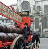 Vintage carriage of Omer beer manufacturer. BRUSSELS, BELGIUM-SEPTEMBER 06, 2014: Vintage carriage of Omer beer manufacturer participates in parade dedicated to Stock Image