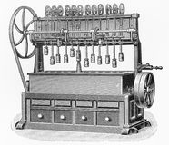 Vintage Carrots processing machine drawing Stock Images