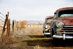 Vintage cars. Abandoned and rusting away in rural wyoming royalty free stock image