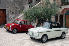 Vintage cars. Italian vintage cars and olive tree Royalty Free Stock Photo