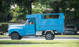 Vintage cars in Action in Cuba Royalty Free Stock Images