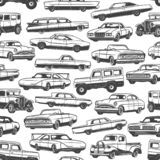Vintage cars and auto seamless pattern background vector illustration