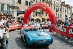 Vintage cars. BASSANO DEL GRAPPA, Vicenza ITALY - June 21, 2015. Vintage cars in Freedom Square in Bassano del Grappa, VI - ITALY. The cars and their crews took Stock Images