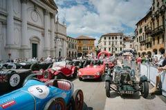 Vintage cars. BASSANO DEL GRAPPA, Vicenza ITALY - June 21, 2015. Vintage cars in Freedom Square in Bassano del Grappa, VI - ITALY. The cars and their crews took Stock Image