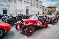 Vintage cars. BASSANO DEL GRAPPA, Vicenza ITALY - June 21, 2015. Vintage cars in Freedom Square in Bassano del Grappa, VI - ITALY. The cars and their crews took Stock Photos