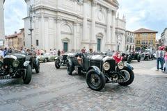 Vintage cars. BASSANO DEL GRAPPA, Vicenza ITALY - June 21, 2015. Vintage cars in Freedom Square in Bassano del Grappa, VI - ITALY. The cars and their crews took Royalty Free Stock Photo