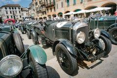 Vintage cars. BASSANO DEL GRAPPA, Vicenza ITALY - June 21, 2015. Vintage cars in Freedom Square in Bassano del Grappa, VI - ITALY. The cars and their crews took Stock Photography