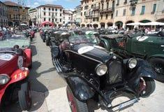 Vintage cars. BASSANO DEL GRAPPA, Vicenza ITALY - June 21, 2015. Vintage cars in Freedom Square in Bassano del Grappa, VI - ITALY. The cars and their crews took Royalty Free Stock Image