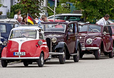 Vintage cars at clubs and associations parade in Garching, in th Royalty Free Stock Photo