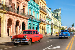 Vintage cars and colorful buildings in Old Havana