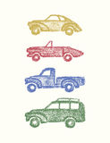Vintage cars drawing. Vector illustration of hand drawn vintage car set. Hand drawn with chalk retro cars. Beautiful design elements, perfect for nursery Stock Photos