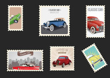 Vintage cars envelope stamps Stock Photography