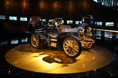 Vintage cars exhibit in the Mercedes-Benz museum in Stuttgart Royalty Free Stock Images