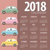 2018 Vintage Cars Flat Design Printable Calendar Starts Sunday. Vector Illustration Royalty Free Stock Image