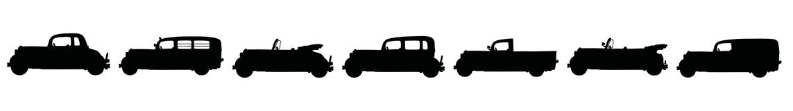 Vintage cars. Hand drawing of seven black silhouettes of vintage cars Stock Photos