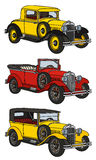 Vintage cars. Hand drawing of three vintage cars - any real models Stock Photo