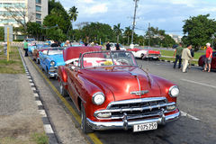Vintage cars in Havana Stock Photos