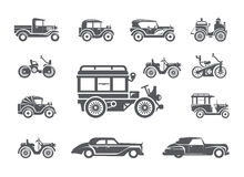 Vintage cars. Icons set Stock Photo