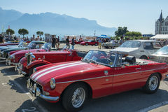 Vintage cars on the Market Place in Vevey, Switzerland Royalty Free Stock Images