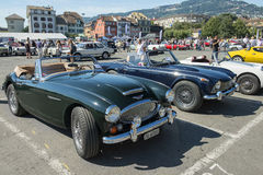 Vintage cars on the Market Place in Vevey, Switzerland Royalty Free Stock Photography