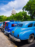Vintage cars near the Capitol of Havana in Cuba Royalty Free Stock Image