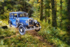 Vintage cars (oil painting) Royalty Free Stock Images