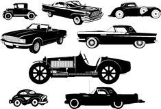 Vintage cars. old cars. Set of silhouettes. Set includes silhouettes of retro cars. Black-and-white vector illustration