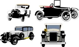 Vintage cars. old cars. Set of silhouettes. Royalty Free Stock Image