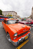 Vintage cars parked in Havana Royalty Free Stock Photos