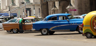 Vintage Cars Parking, Havana Royalty Free Stock Images