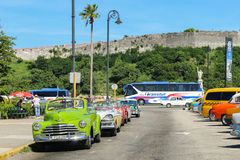 Vintage cars in the parking lot, Cuba, Havana. Vintage cars in the parking lot Stock Image