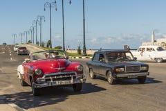 Vintage cars rolling in Havana Stock Photo