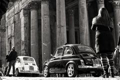 Vintage cars in Rome stock photos