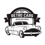 Vintage cars sale. Retro car icon. Car repair. Stock Image