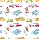 Vintage cars seamless pattern. Hand drawn vector travel signs Royalty Free Stock Image