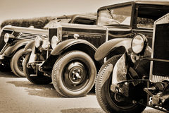 Vintage cars, sepia. Antique vintage cars, sepia process royalty free stock photo
