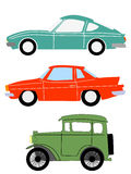 Vintage cars. Set of  illustrations of vintage cars Royalty Free Stock Photo