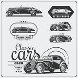 Vintage cars set. Retro cars garage. Classic muscle cars labels, emblems and design elements. Black and white Royalty Free Stock Image