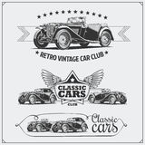 Vintage cars set. Retro cars garage. Classic muscle cars labels, emblems and design elements. Black and white Stock Photos
